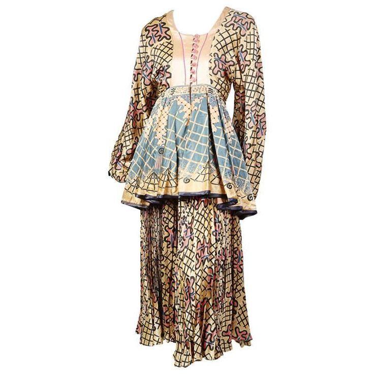 Zandra Rhodes Peasant Skirt and Blouse circa 1970s