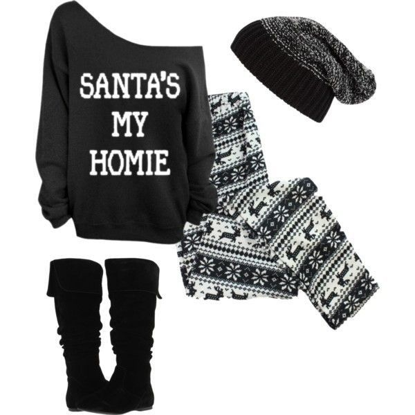 38 cute Christmas outfits for girls: Santa homie merry Christmas sweater, knit black leggings, reindeer beanie, knee high boots – teen fashion cute style outfit from Polyvore