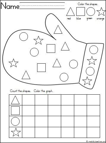 This is a mitten themed activity for your Kindergarten students to practice shapes and graphing. It's a wonderful math activity for any winter month. Download it for free.: