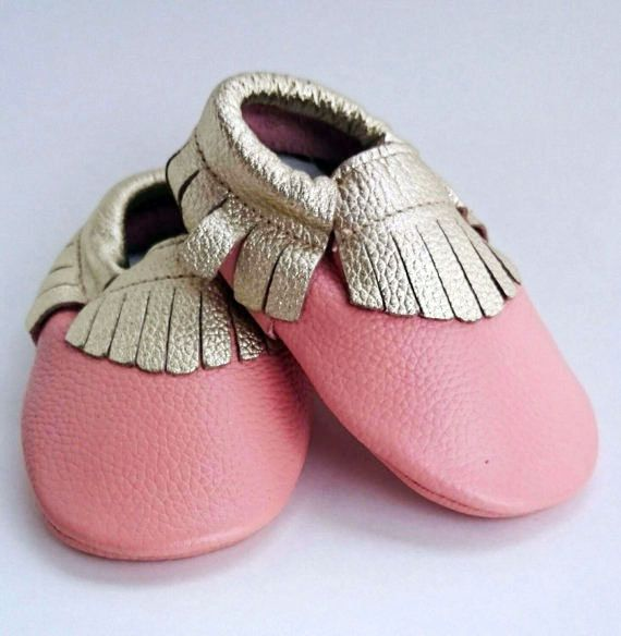 So cute gold and pink moccs. Only $14.99  https://www.etsy.com/ca/listing/261729387/baby-pink-and-gold-moccasins-durable