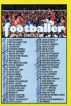 1974-75 A&BC Gum #13 Checklist Front
