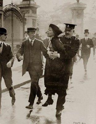 Emmeline Parkhurst, women's suffrage leader in England, being arrested. Suffragette (women's rights