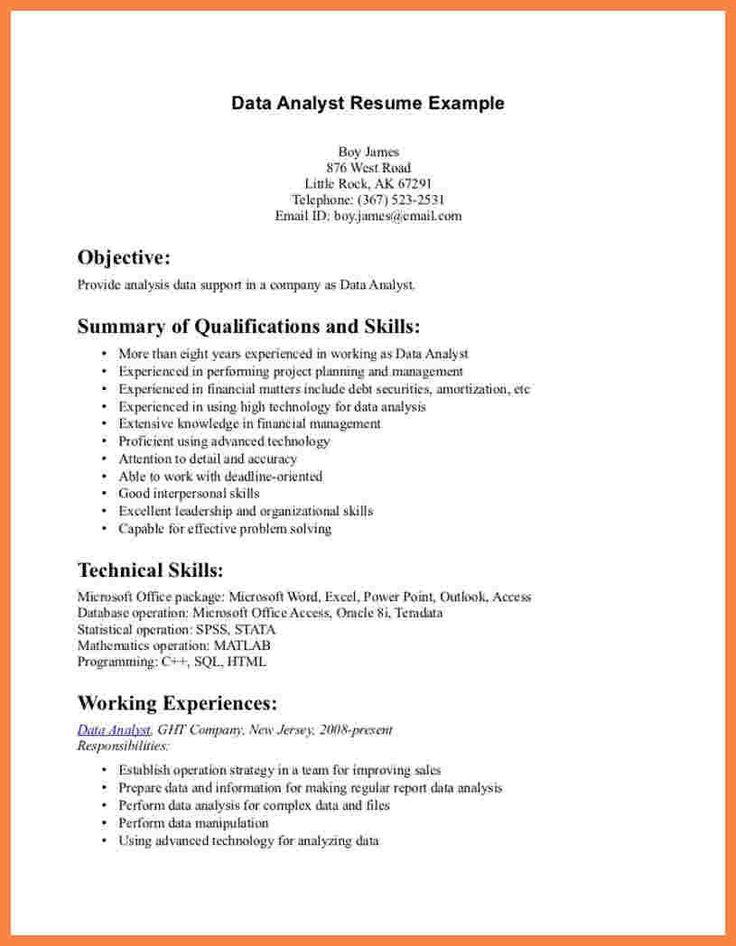 Data Analyst Resume Summary Newest 8 Data Analyst Resume