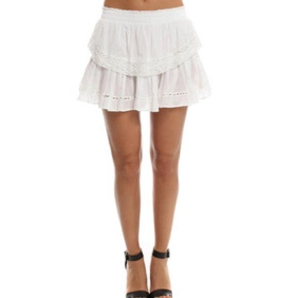 1HR SALE Victoria Secret London Jean Linen Skirt Beautiful white gauzy crochet edged skirt perfect for summer and very sexy but feminine :) worn one time in perfect condition! Stretchy no pinch waistline Victoria's Secret Skirts Mini