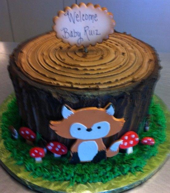 Fox And Tree Stump Cake Baby Shower Cakes Pinterest