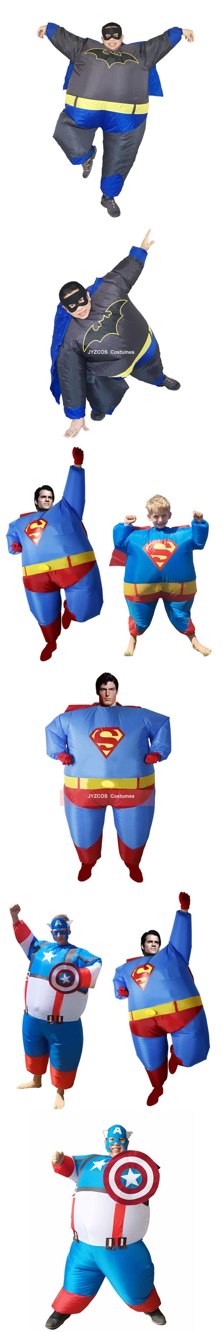 New Airblown Inflatable Fat Superman Costume Halloween Purim Party Fan Operated Superhero Funny Cosplay Fancy Dress Outfits