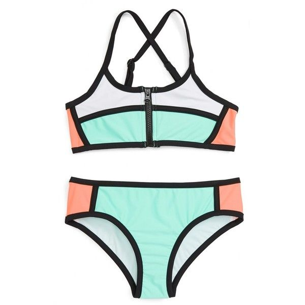 Tween Swimsuits & Swimwear Cover-Ups | Nordstrom ❤ liked on Polyvore featuring swimwear, cover-ups, swimsuits two piece, bathing suit cover up, two piece bathing suits, two piece swimsuit and 2 piece swim suits