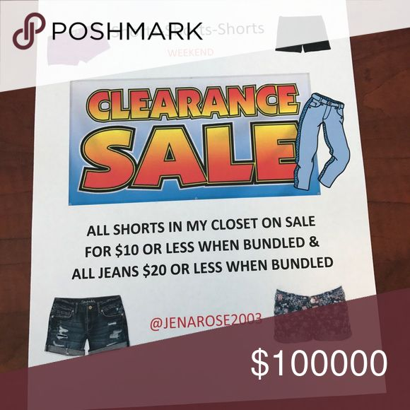 Weekend Sale All shorts and jeans on sale when bundled Various Shorts