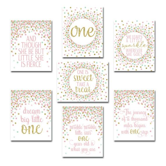 First Birthday Party Decor. 1st Birthday Party Signs Printable. Pink Mint Gold Girl Birthday Party. 1st Birthday Decorations Pink And Gold. INSTANT DOWNLOAD, DIGITAL FILE ONLY, NOT A PHYSICAL PRODUCT. ❤ PRODUCT SPECIFICATIONS: Size: 8x10 Resolution: high (300dpi) File format: JPEG ❤ WHAT YOU GET: You get JPEG files to print as many copies as you wish. ***PLEASE NOTE - it is digital purchase: no physical item will be mailed*** ❤ HERE'S HOW IT WORKS: > Purchase this listing > Payment ...