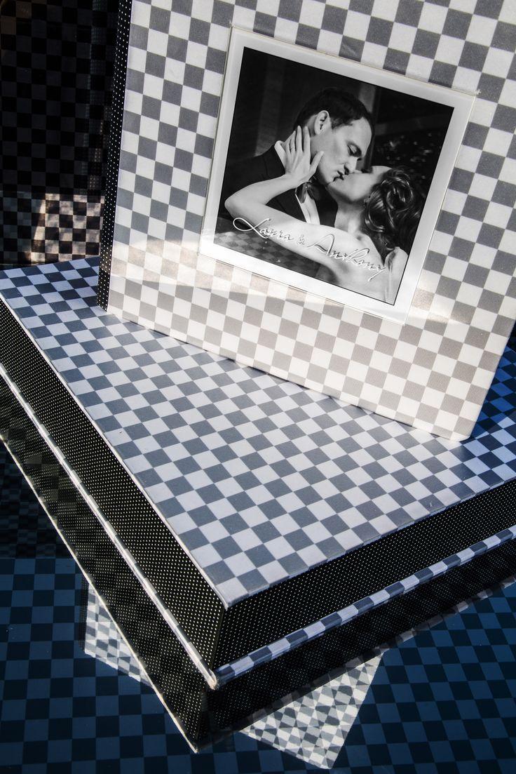 Ceconi | #white and #gray checks | diecut with silk cover | art box |  #graphistudio #ceconi #checks #fashion #weddingbook #wedding #photography
