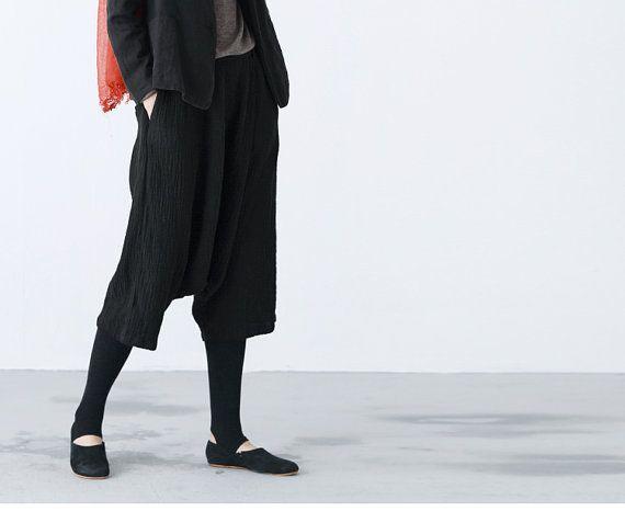 Black Textured linen wide leg cropped pants BonLife by BonLife