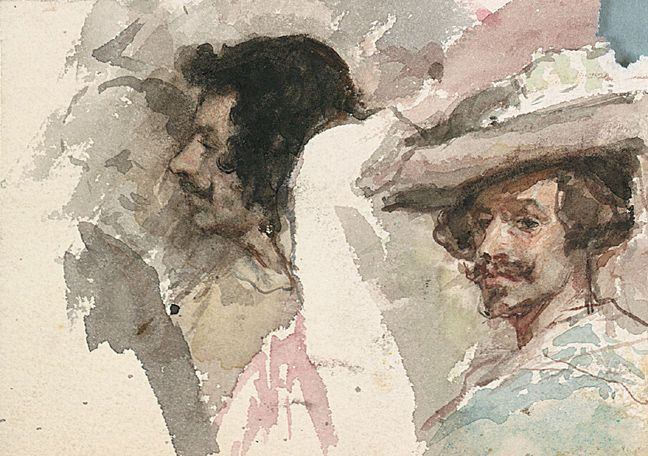 Mariano Fortuny y Carbo   Portrait (after Velazquez)   (Watercolor on paper, 3-7/8 x 5-3/8 inches)   Spanierman Gallery, NYC  ==============  Click for more information