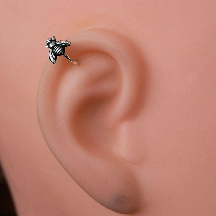 Cartilage Earring / Tragus Hoop / Helix Hoop / Bumblebee / Sterling Silver. $17.95, via Etsy.