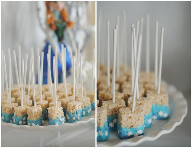 Decorated Rice Krispie pops at a Frozen girl birthday party!  See more party ideas at CatchMyParty.com!