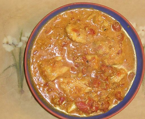 Curried Monkfish Recipe - used a whole small onion, doubled garlic, put in quarter of fresh chopped habanero, didn't add other fish and sprinkle with cilantro when done. Delicious, quick and simple!