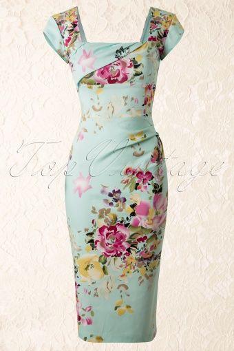 The Pretty Dress Company Cara Seville Pencil Flower Dress in mint 100 49 13190 20140602 0005