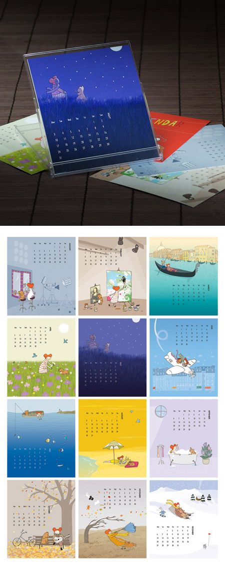 Ana Aceves' desk calendar features twelve of her lovely, whimsical illustration
