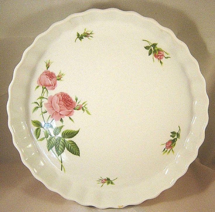 Pink Rose Quiche Pan Fluted Christineholm Torte Tart Plate Pie Casserole Baker  #CHRISTINEHOLM