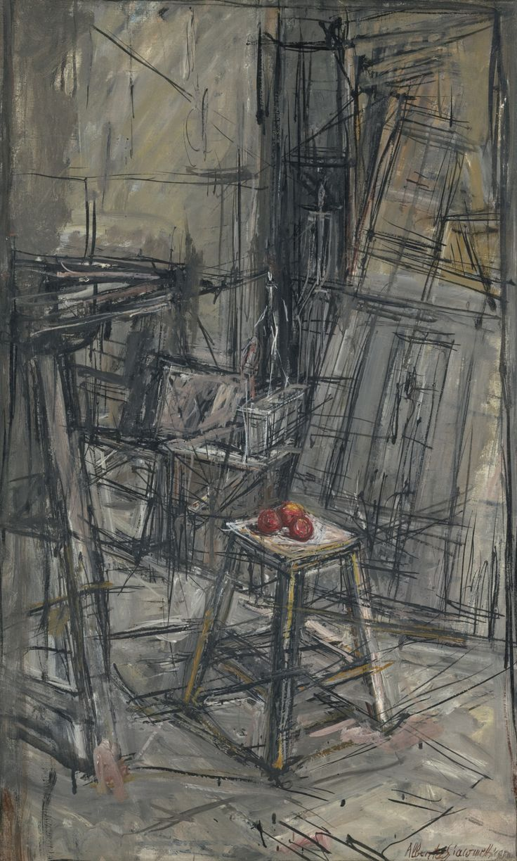 Alberto Giacometti (Swiss, 1901-1966), Pommes dans l'atelier [Apples in the studio], 1950. Oil on canvas, 70 x 42.5 cm.