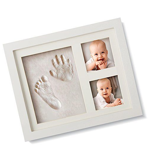 BEST BABY HAND  FOOTPRINT PICTURE FRAME KIT for Boys and Girls Cool  Unique Baby Shower Gifts for Registry Memorable Keepsakes Decorations for Room Wall or Table Decor Premium Clay  Wood Frames ** You can find out more details at the link of the image.
