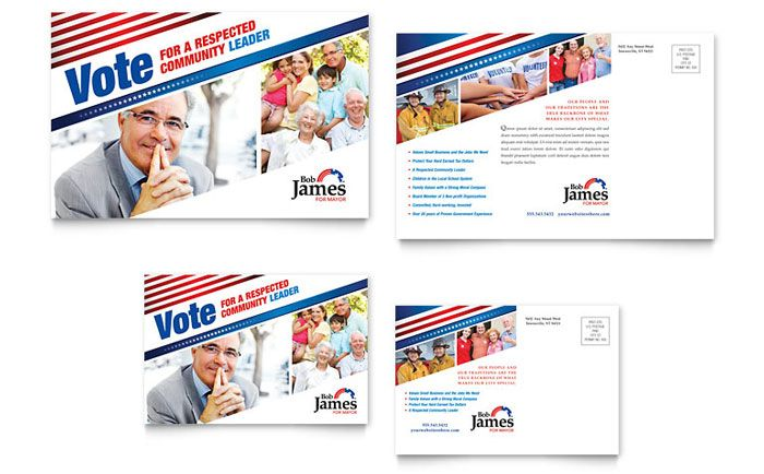 Election Brochure Political Campaign Postcard Template Design By