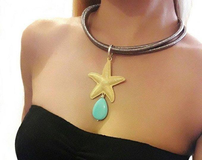 Collana estiva, collana turchese, collana stella marina, collana pendente, ciondolo stella, regalo di compleanno, collana sirena, gioielli