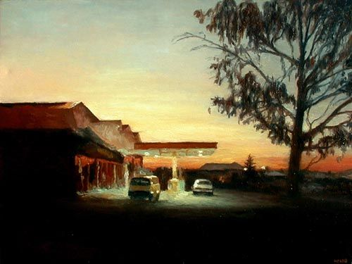 """Filling Station"" by Walter Meyer, whose urban and rural landscapes read like short stories."