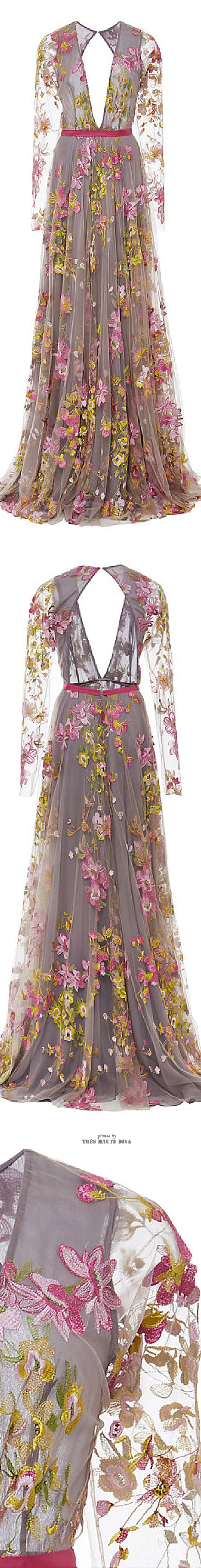 Naeem Khan Floral Embroidered Long Sleeve Gown. SS 2015 - really pretty - too bad its so low cut