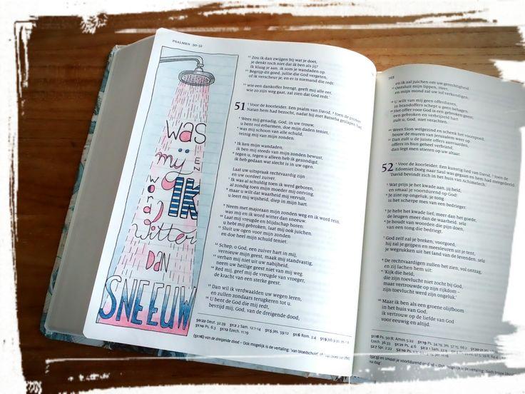 Psalm 51 vers 9 Was mij witter dan sneeuw © Linette Trapman Vrij te gebruiken voor persoonlijke biblejournaling