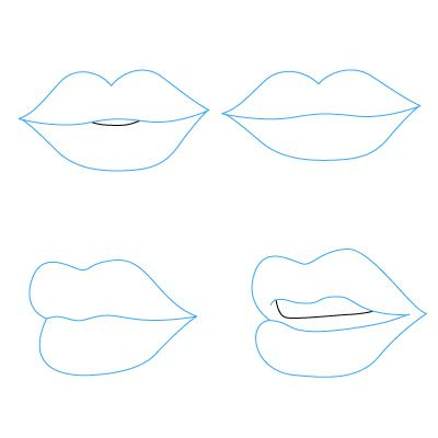 how to draw lips. four different ways for valentine cards