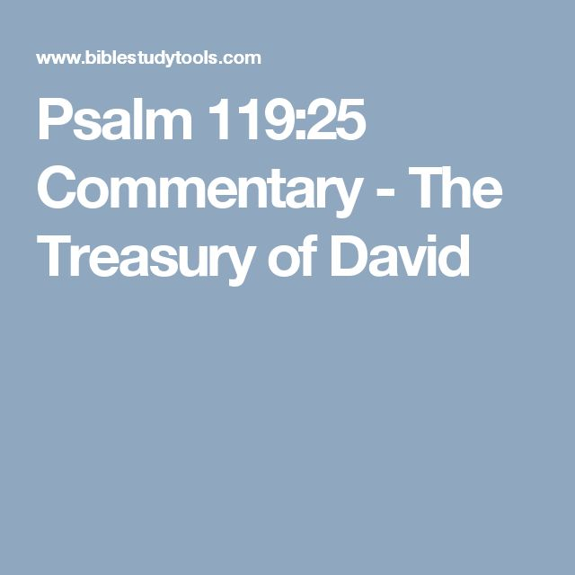 Psalm 119:25 Commentary - The Treasury of David