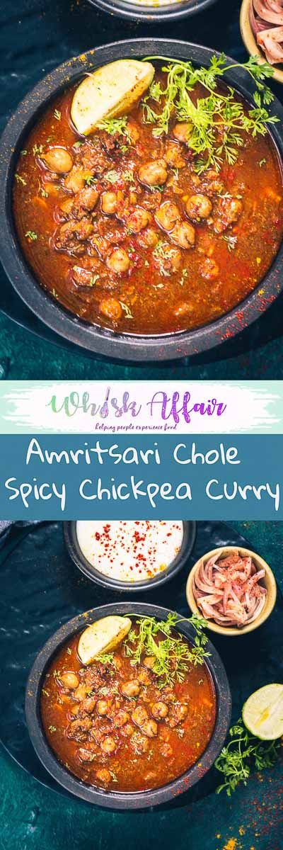 Amritsari Chole Recipe is an authentic punjabi style dark chole recipe which goes well with Bhatura or Kulcha. #Chana #Chole #Chickpea #Spicy #Indian #Curry #Punjabi #Vegetarian #Vegan #GlutenFree via @WhiskAffair