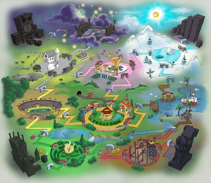 This is the original concept map of the TTO world which was scrapped. This includes the playgrounds: Funny Farms, Goofy Stadium, and The Construction Zone. The Cog HQ's are also in different locations.