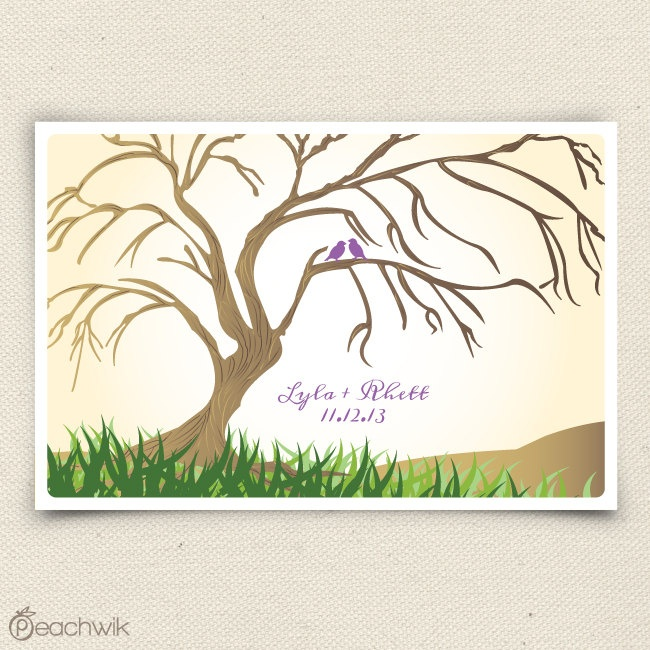 Thumbprint Tree Guest Sign: Wedding Guest Book Willow Tree