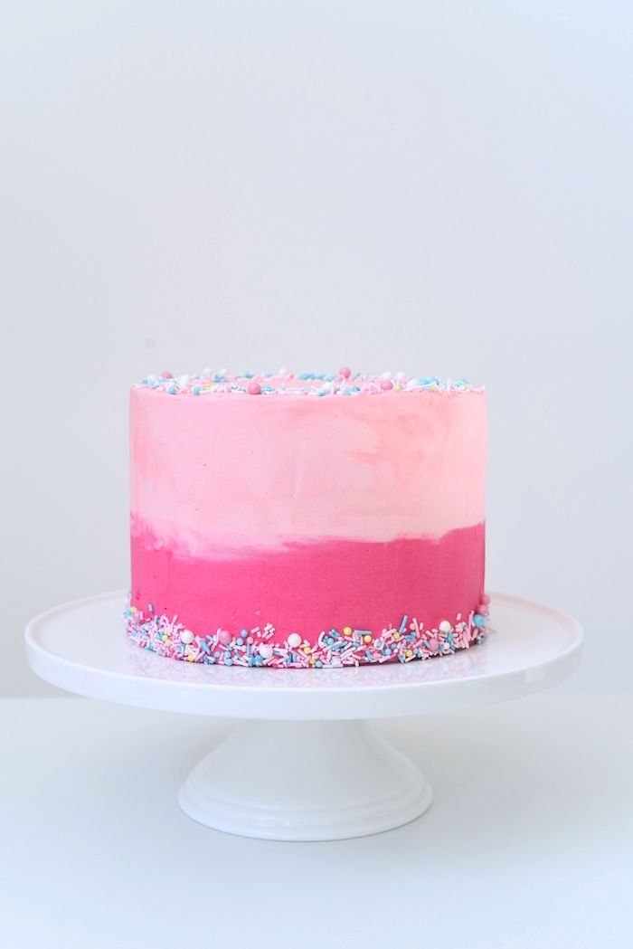 Pink ombre cake from a Candy Parade Birthday Party on Kara's Party Ideas | KarasPartyIdeas.com (20)