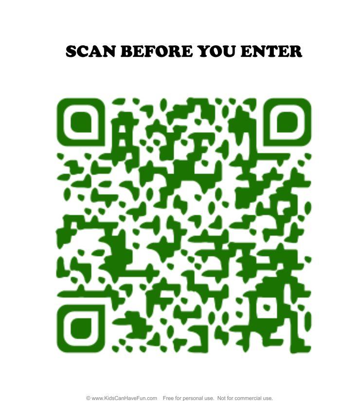 Scan before you Enter Caution Dinosaur Door Sign for Kids http://www.kidscanhavefun.com/qr-codes-for-kids.htm #qrcode #cautionsign #printables