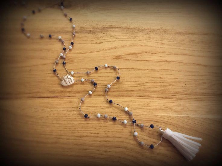 Handmade beaded suede tassel rosary necklace...