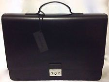 CALVIN KLEIN LEATHER BRIEFCASE LAPTOP BAG BLACK NEW AUTHENTIC