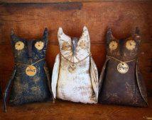 Primitive owls , primitive decor , black, brown and white primitive owls, primitive dolls..