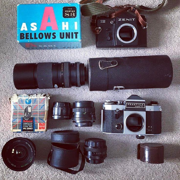 Have a sort through some of my Grandads old camera gear! #photo #camera #photography #filmcamera #35mm #photographs #zenit #praktica #lens #lenses #cameralens #cameralense