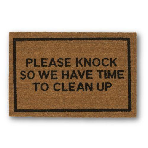Please Knock Brown Coir Doormat