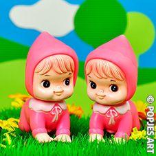 roze vintage pieppopjes baby meisjes roze