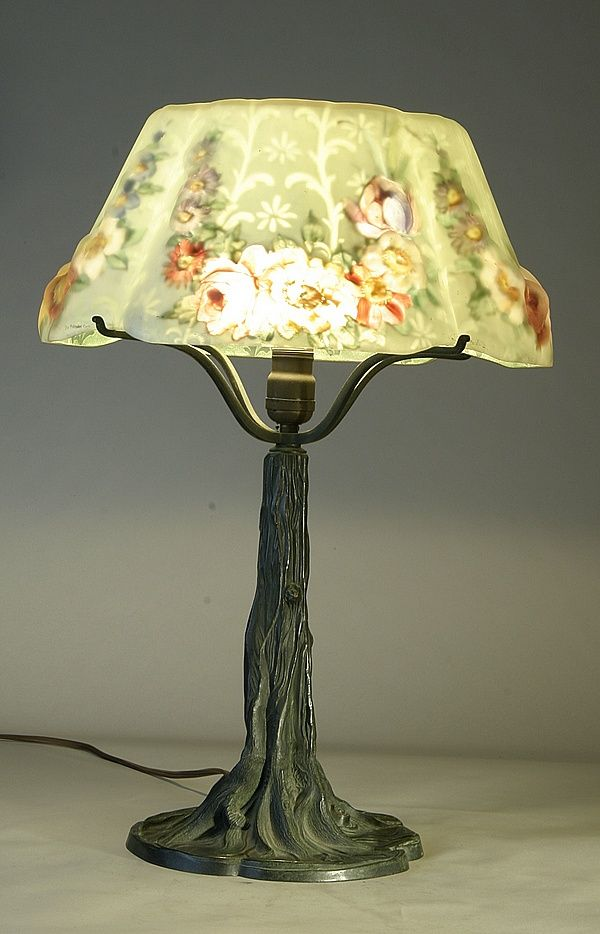 Image detail for glass lampshade on a bronze stylized tree trunk base