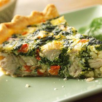 Turkey, Spinach and Swiss Quiche - Honeysuckle White® turkey