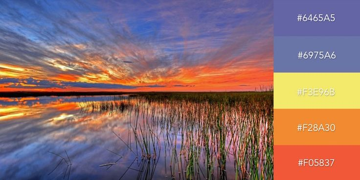 Beautiful color combinations, schemes and palettes - Sunset Over a Swamp