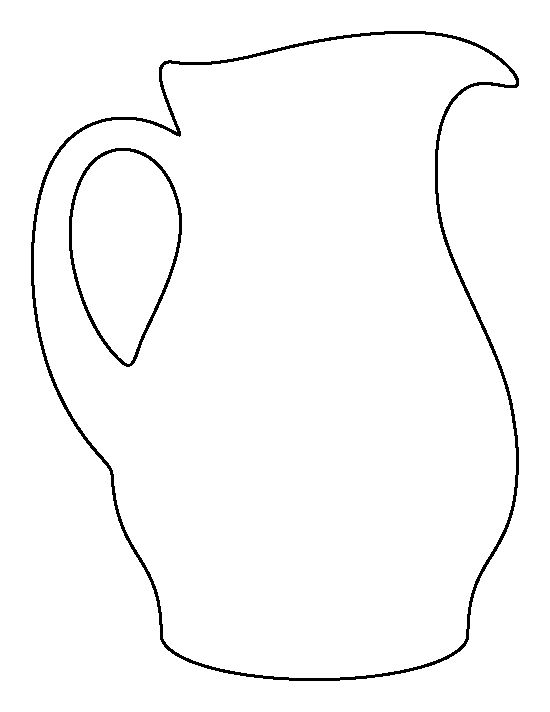 Pitcher pattern. Use the printable outline for crafts, creating stencils, scrapbooking, and more. Free PDF template to download and print at http://patternuniverse.com/download/pitcher-pattern/