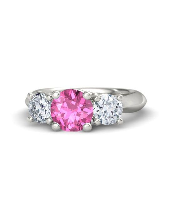 Round Pink Shire White Gold Ring With Rosemary