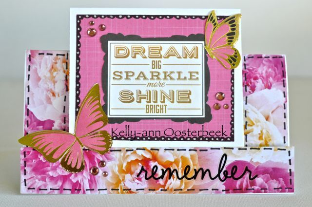 A step card made by Kelly-ann Oosterbeek using the All That Glitters Collection from Kaisercraft. www.amothersart.com.au