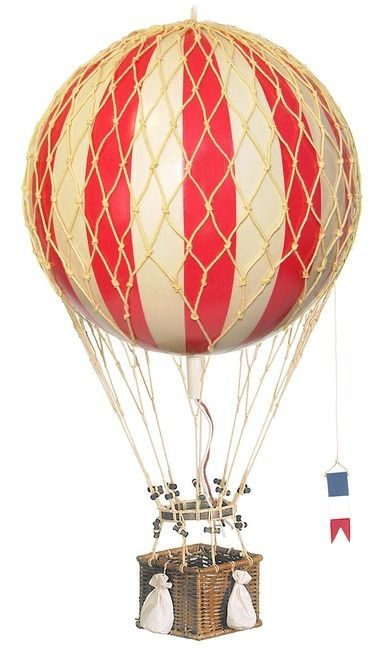 The Royal Aero decorative hot air balloon model is handcrafted of fabric paper gores applied to a papier-mache core, the netting is hand woven . The basket is rattan (wicker) and the toggles are woode