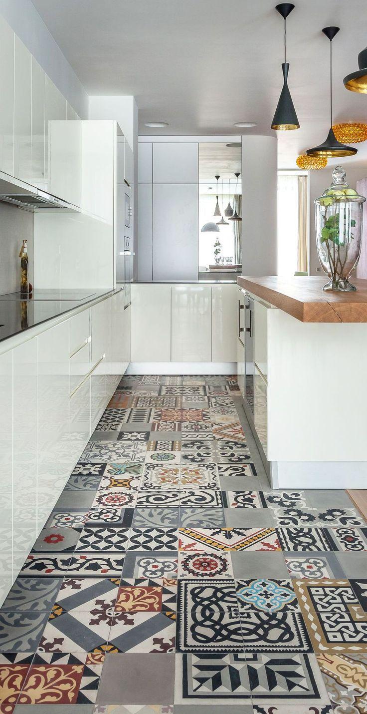 Plan de cuisine en ligne avec photo des r alisations de pro carrelage de ciment le sol et - Idee cuisine en longueur ...
